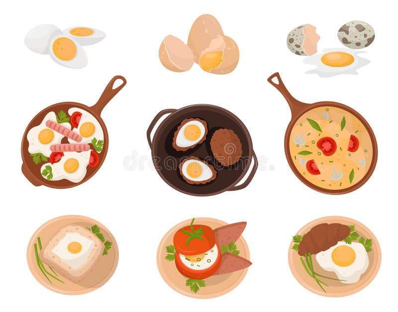 Os pratos saborosos feitos dos ovos ajustados, crus, fervido e ovos fritos com vários ingredientes vector a ilustração em um bran ilustração royalty free