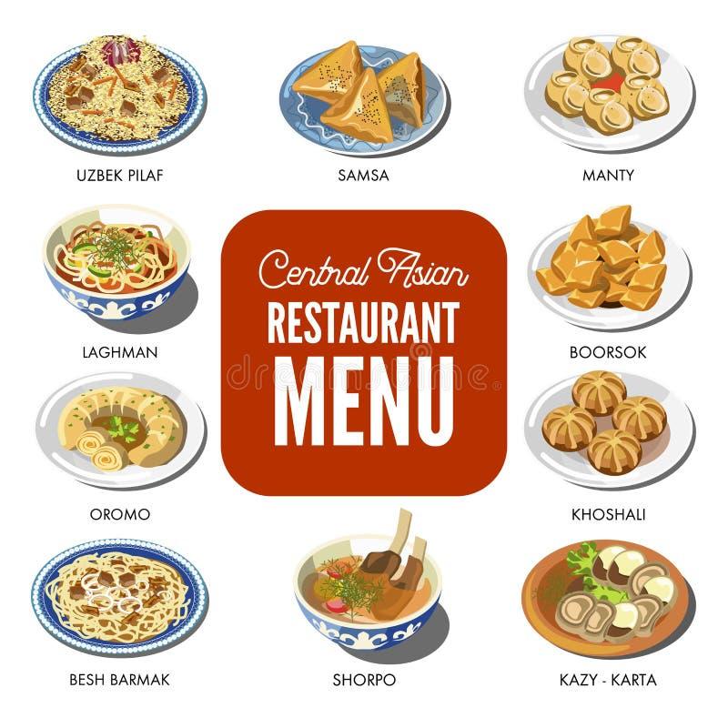 Os pratos tradicionais da culinária asiática central do alimento vector ícones para o menu do restaurante ilustração stock