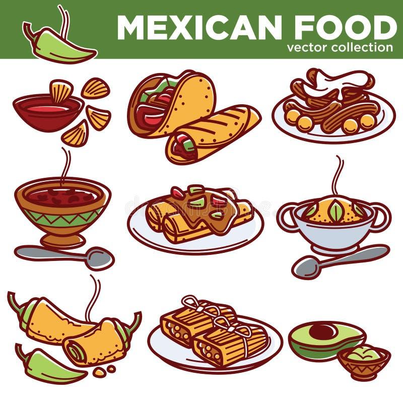 Os pratos tradicionais da culinária mexicana do alimento vector ícones para o menu do restaurante ilustração royalty free