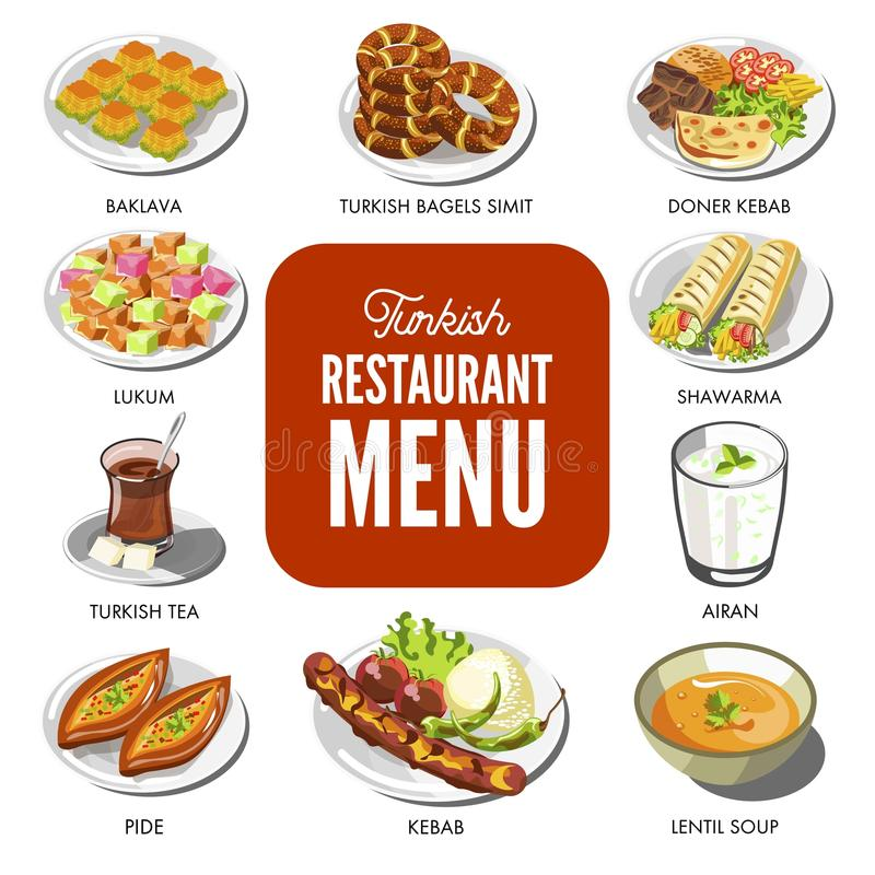 Os pratos tradicionais do alimento turco da culinária vector ícones para o menu do restaurante de Turkley ilustração do vetor