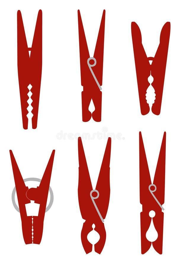 Os pregadores de roupa ou a roupa cavilham a silhueta - prendedor usado para pendurar acima a roupa para secar, geralmente em uma ilustração stock