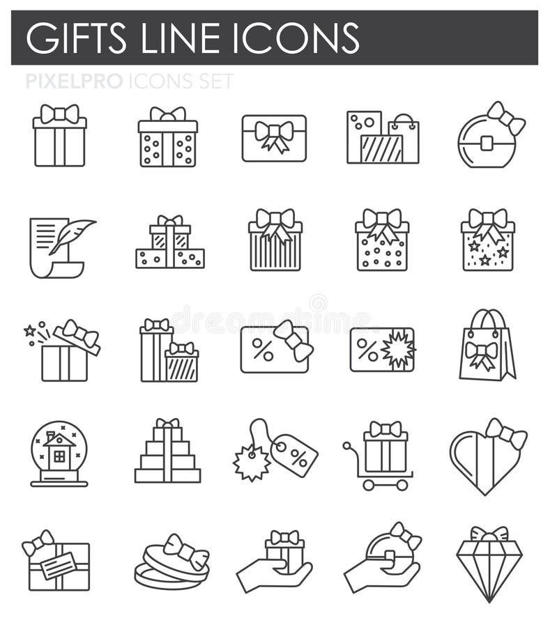 Os presentes alinham os ícones ajustados no fundo branco para o gráfico e o design web Sinal simples do vetor Símbolo do conceito ilustração royalty free