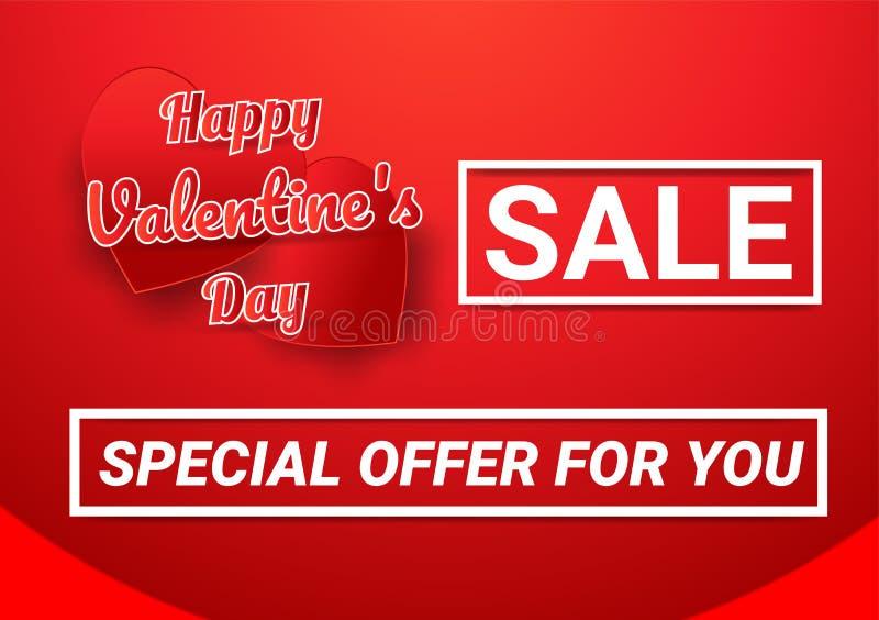 Os presentes do dia de Valentim, preço descontado com letras e corações vermelhos e brancos puseram sobre um fundo vermelho fotos de stock