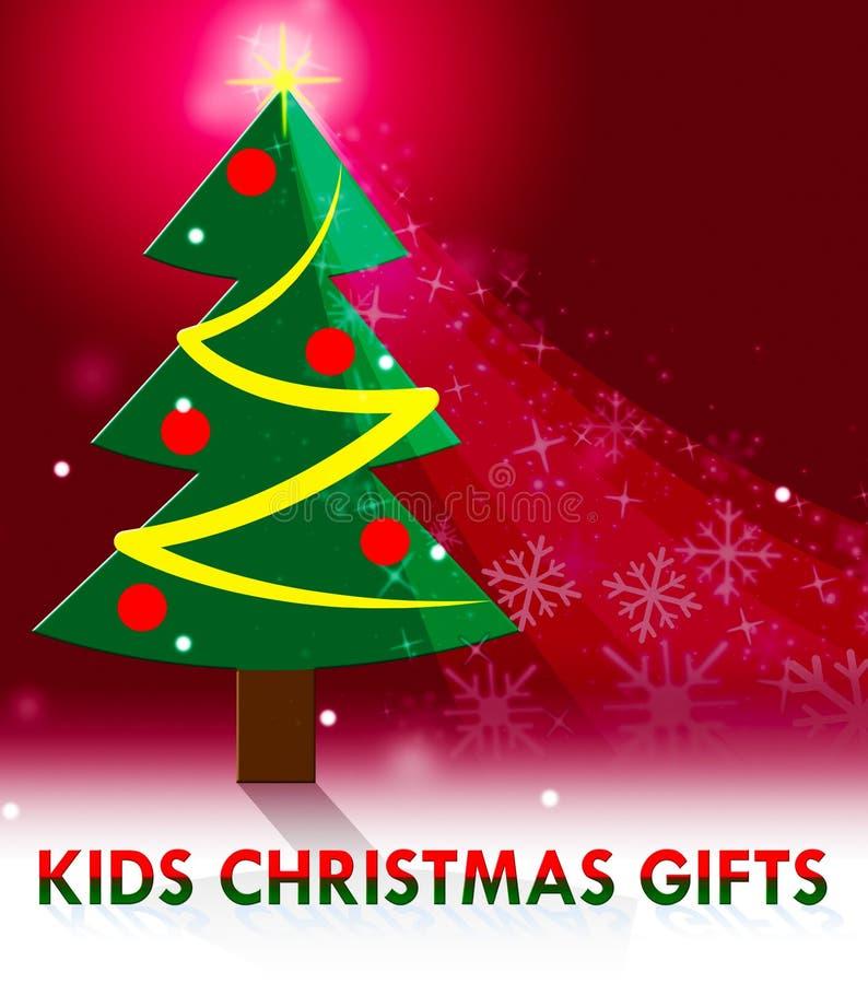 Os presentes do Natal das crianças significam que o Xmas apresenta a ilustração 3d ilustração stock