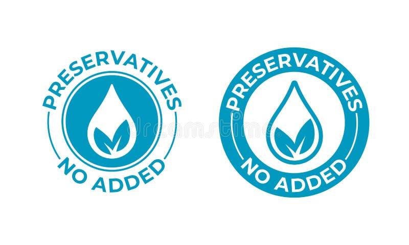 Os preservativos não adicionaram a folha do vetor e o ícone da gota Selo livre do selo dos preservativos, pacote natural do alime ilustração stock