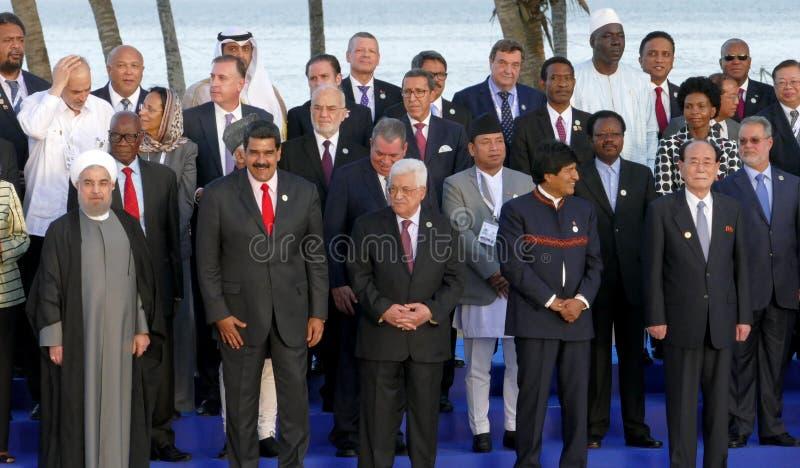 Os presidentes das delegações levantam para a fotografia oficial na 17a cimeira do movimento Não-alinhado fotos de stock royalty free