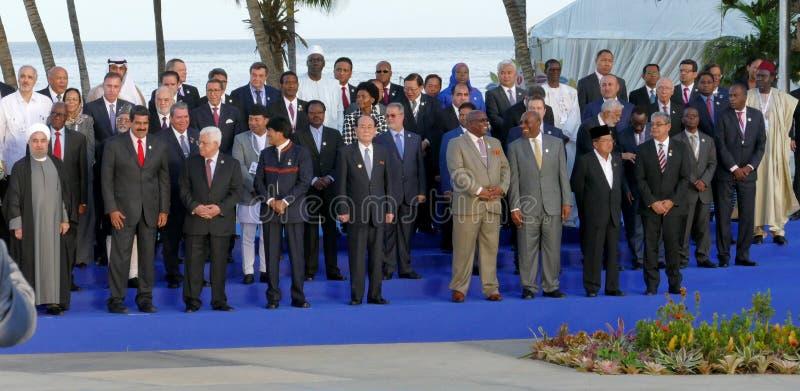 Os presidentes das delegações levantam para a fotografia oficial na 17a cimeira do movimento Não-alinhado imagem de stock royalty free