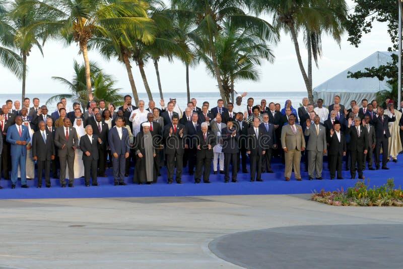 Os presidentes das delegações levantam para a fotografia oficial na 17a cimeira do movimento Não-alinhado imagens de stock royalty free
