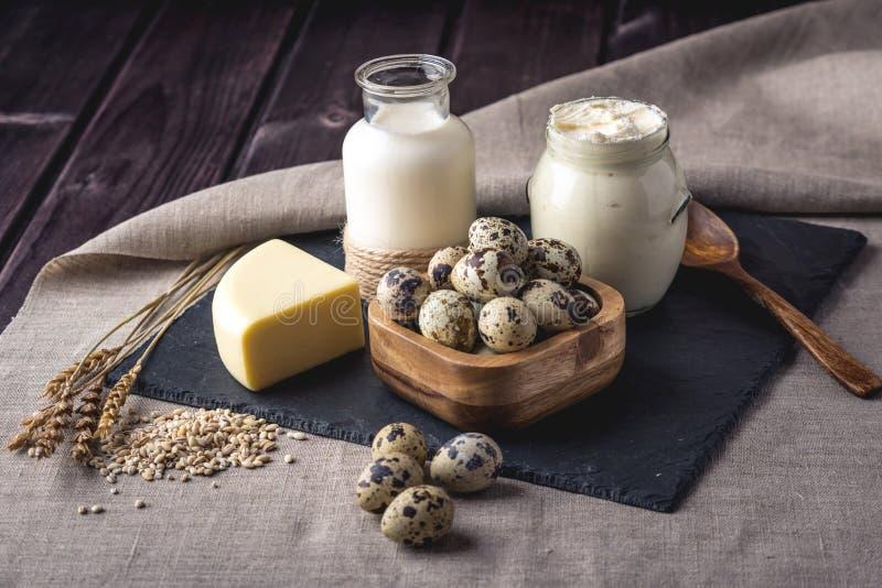 Os produtos agrícolas de Eco ordenham, queijo, creme de leite, iogurte, ovos no fundo de madeira escuro O conceito da casa fez o  fotografia de stock royalty free