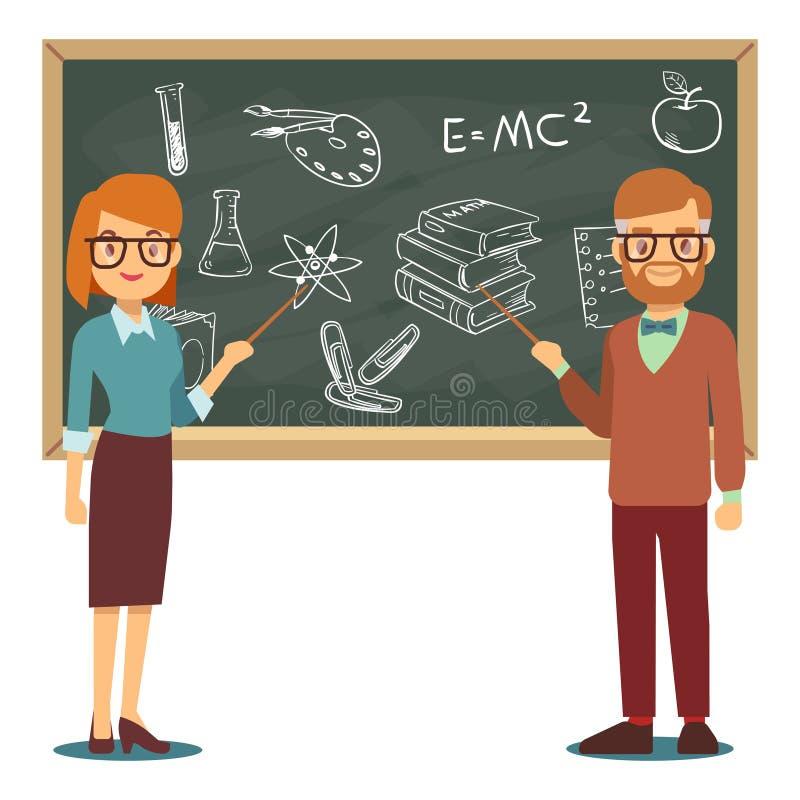 Os professores masculinos e fêmeas que estão na frente do quadro-negro vazio da escola vector a ilustração ilustração royalty free