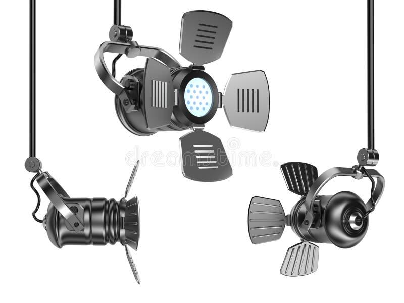 Os projectores ajustaram-se isolado no branco ilustração stock