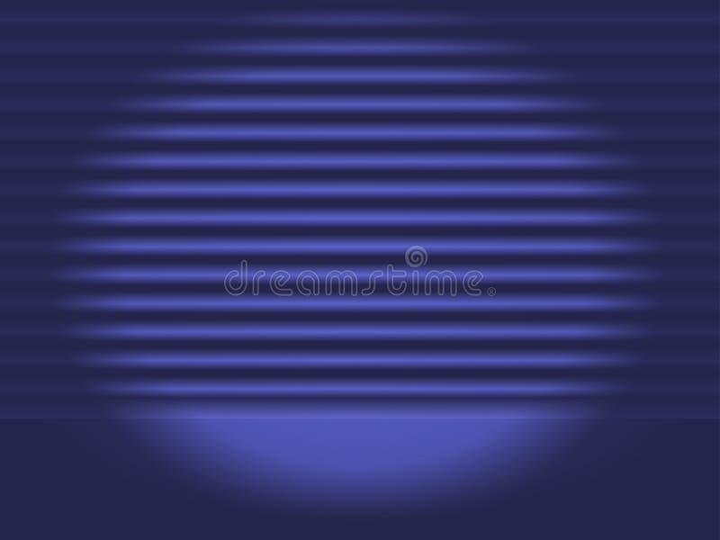 Os projetores brilhantes iluminam a cena azul, a luz dos projetores ilustração do vetor