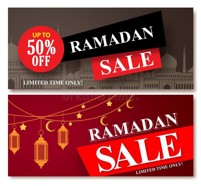 Os projetos da bandeira do vetor da venda da ramadã ajustaram-se para o disconto de compra ilustração do vetor