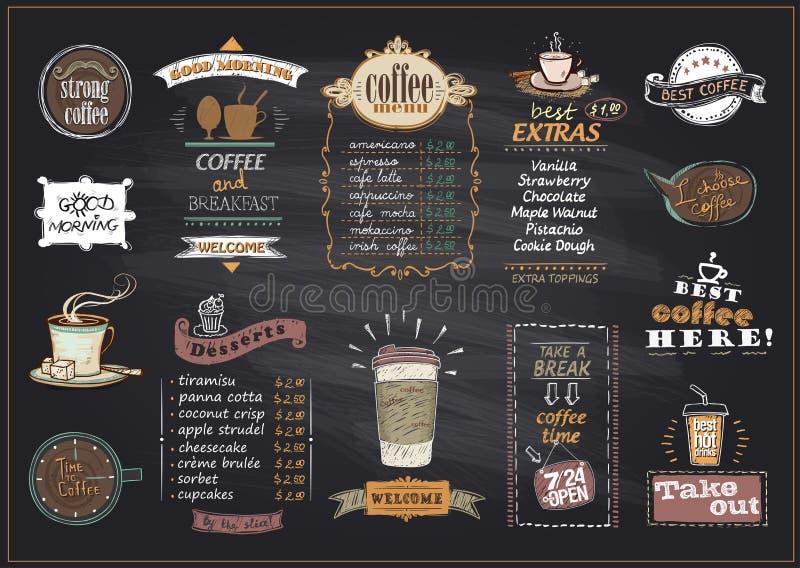 Os projetos da lista do menu do café e das sobremesas do quadro ajustaram-se para o café ou o restaurante ilustração stock