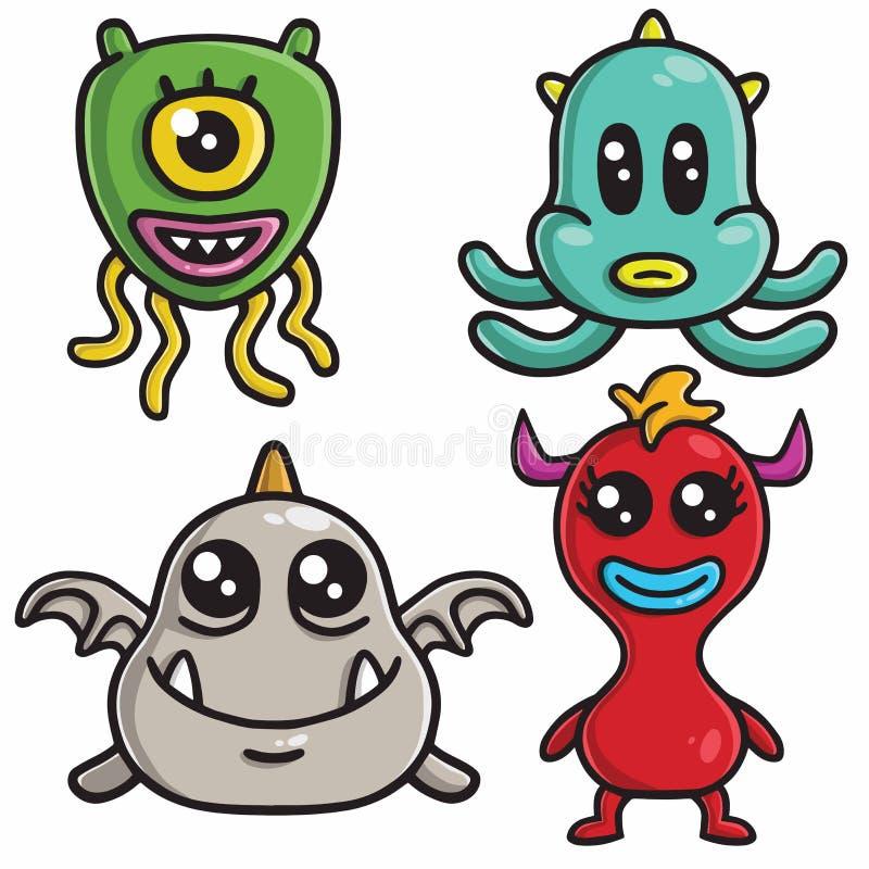 Os projetos de caráter bonitos do monstro ajustaram o molde colorido do vetor dos desenhos animados ilustração stock