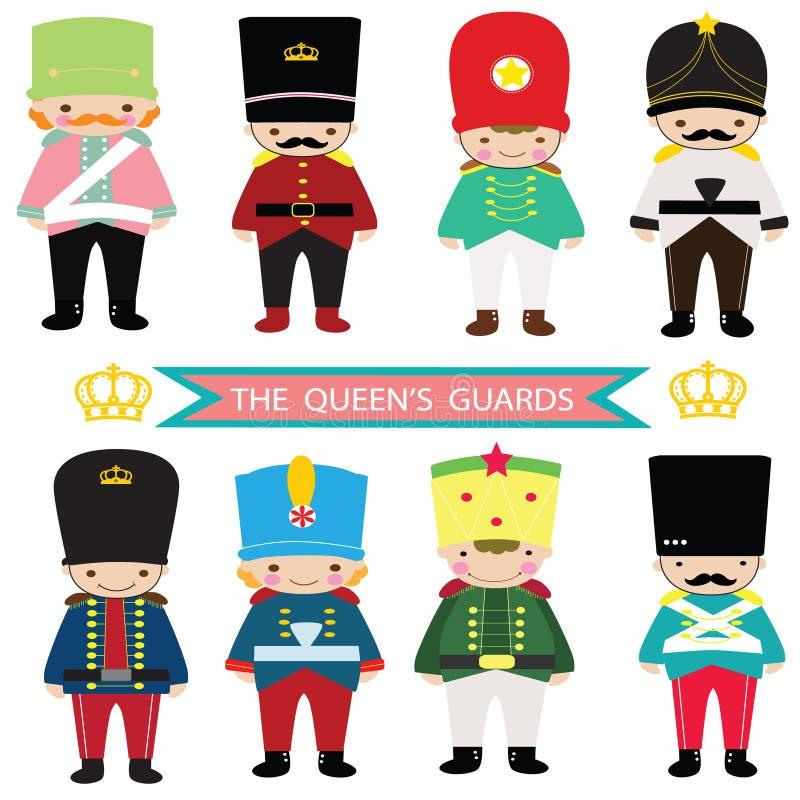 Os protetores da rainha, soldado de brinquedo, quebra-nozes, protetores BRITÂNICOS, soldado BRITÂNICO ilustração royalty free