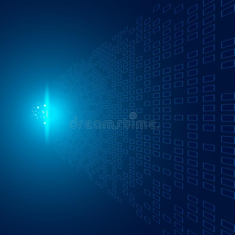 Os quadrados abstratos modelam a perspectiva futurista dos dados de transferência no fundo azul com impacto do conceito claro da  ilustração do vetor