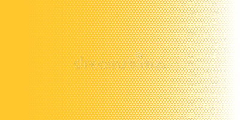 Os quadrados brancos abstratos modelam a textura de intervalo mínimo horizontal no estilo amarelo do pop art do fundo Você pode u ilustração stock