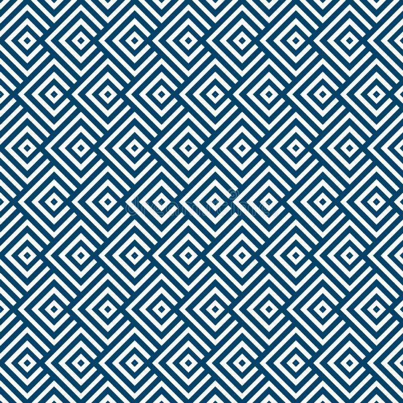 Os quadrados listrados geométricos sem emenda do azul e os brancos modelam o fundo ilustração royalty free
