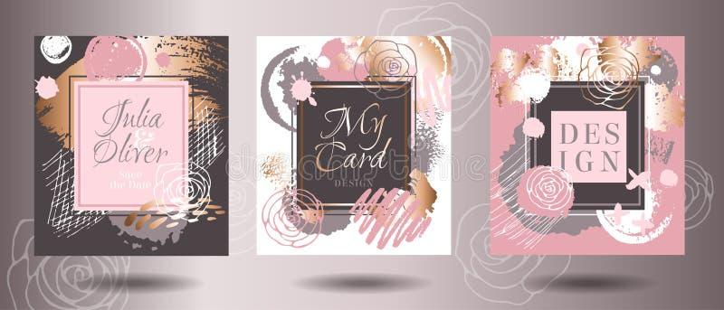 Os quadros aumentaram cartão dos cursos da escova do ouro Cartões da arte, greetin ilustração do vetor