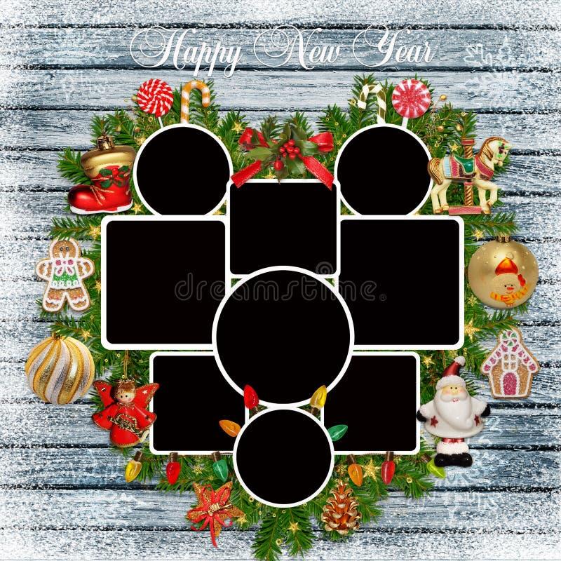 Os quadros da foto, pinho ramificam, decorações do Natal em um fundo de madeira nevado ilustração royalty free