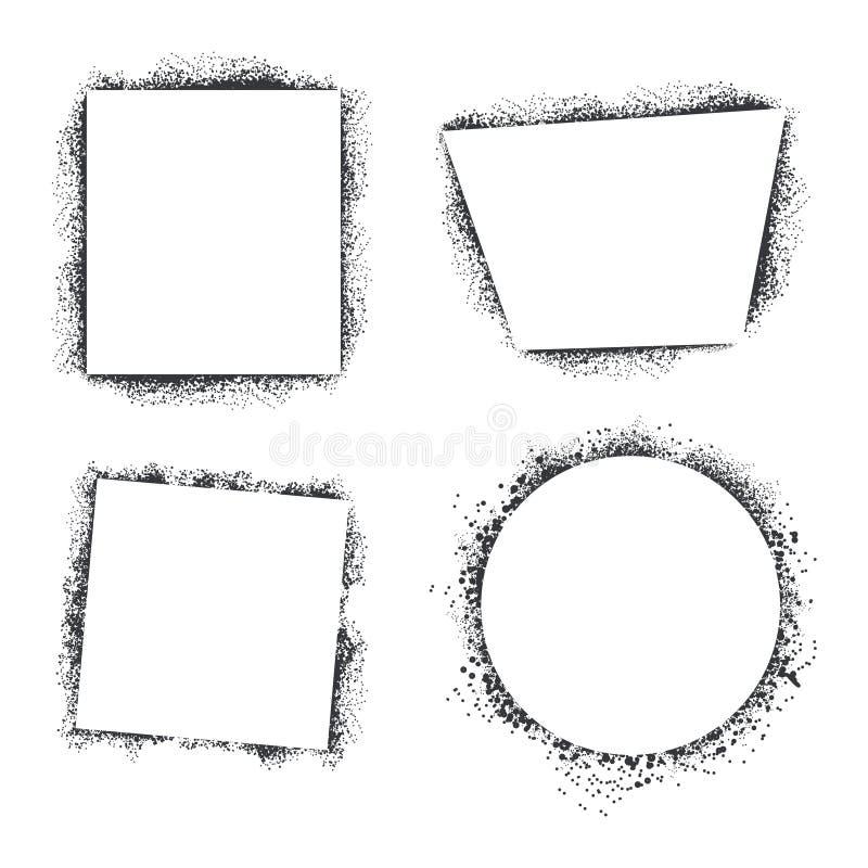 Os quadros da textura do pulverizador ajustaram-se isolado no fundo branco ilustração do vetor