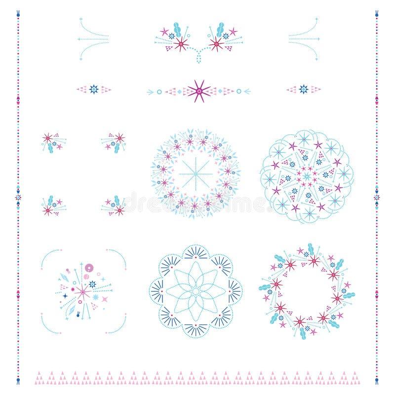 Os quadros decorativos e o retângulo padrão das beiras proporcionam o vetor do grupo de elementos do projeto moderno dos fundos ilustração do vetor
