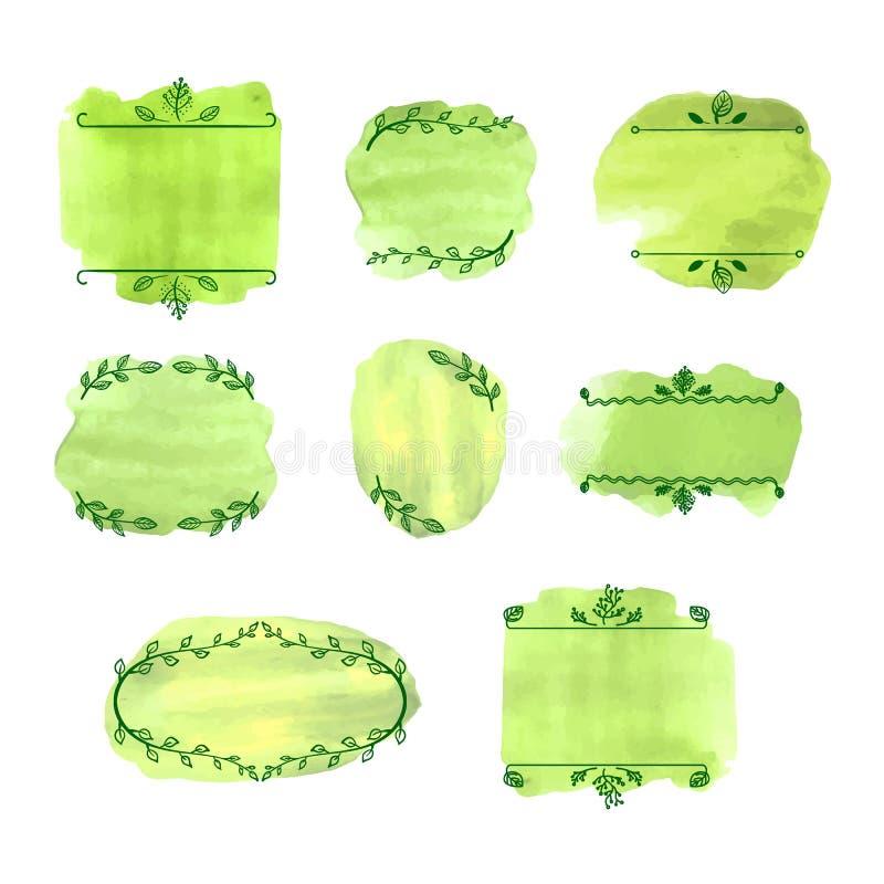 Os quadros do vetor, as folhas do verde e os pontos vazios da aquarela, beiras naturais bonitos ajustaram o fundo ilustração stock
