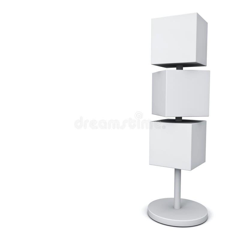 Os quadros indicadores vazios da caixa com polo estão, as placas do signage ou as caixas quadradas do quadro de avisos da propaga ilustração stock