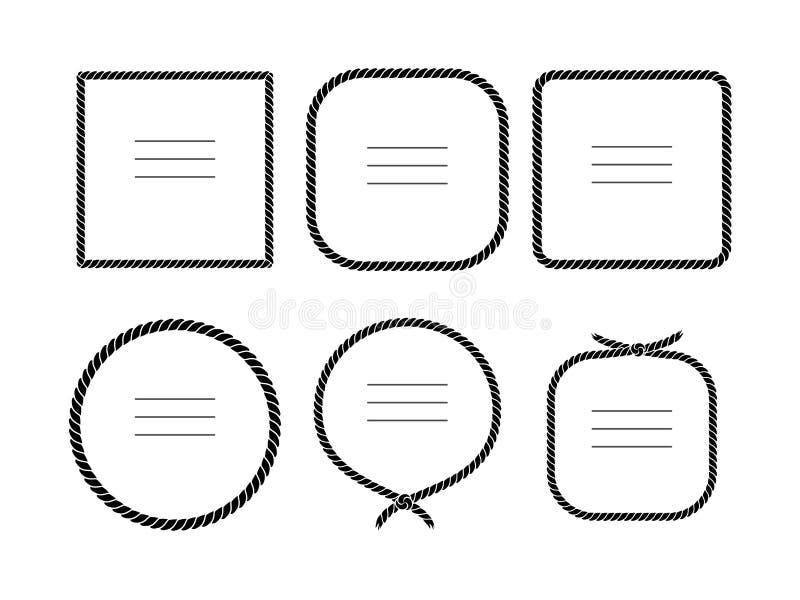 Os quadros preto e branco da corda ajustaram-se em formas diferentes, vetor ilustração do vetor