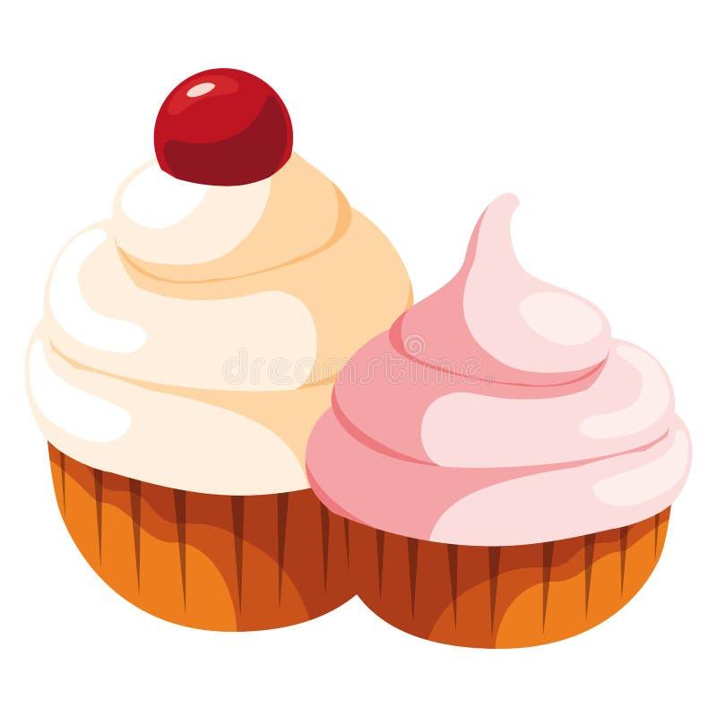 Os queques doces projetam ilustração stock