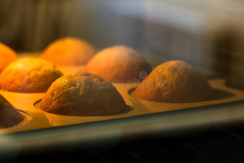 Os queques saborosos são cozidos atrás de um vidro em um forno Close-up imagem de stock royalty free