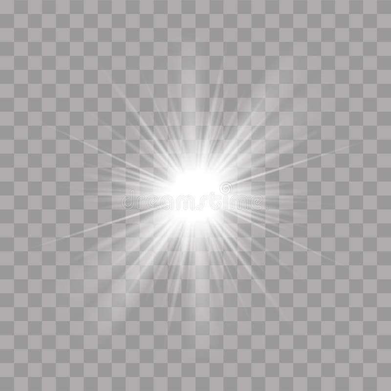 Os raios claros brilham o efeito instantâneo da estrela do sol do esplendor ilustração stock