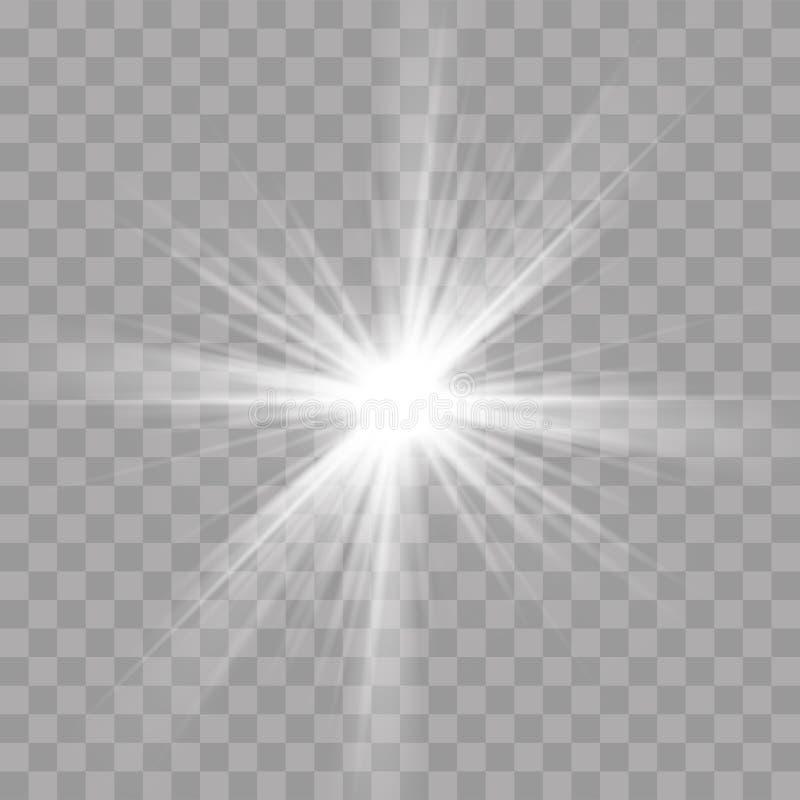 Os raios claros piscam efeito do esplendor do brilho da estrela do sol ilustração do vetor