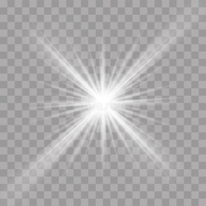 Os raios claros piscam raio da estrela do vetor do efeito do esplendor ilustração royalty free