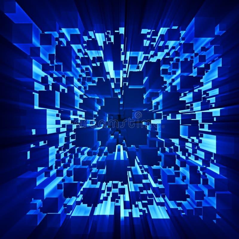 Os raios de luz brilham através dos cubos moventes ilustração do vetor