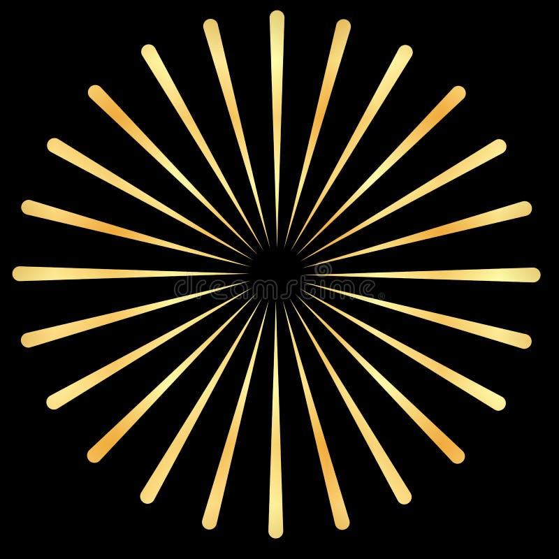 Os raios dourados, ouro irradiam o elemento Sunburst, forma do starburst Irradiando, radial dourado, fundindo linhas ilustração royalty free