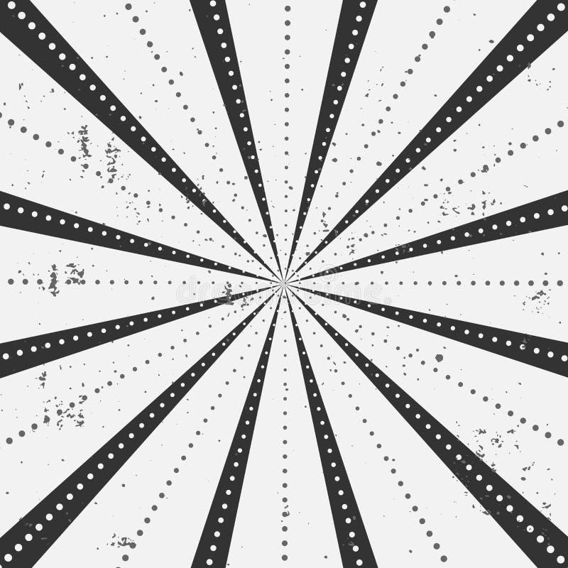 Os raios listrados com teste padrão de pontos com luz estouraram listras Fundo abstrato do papel de parede Ilustração do vintage  ilustração do vetor