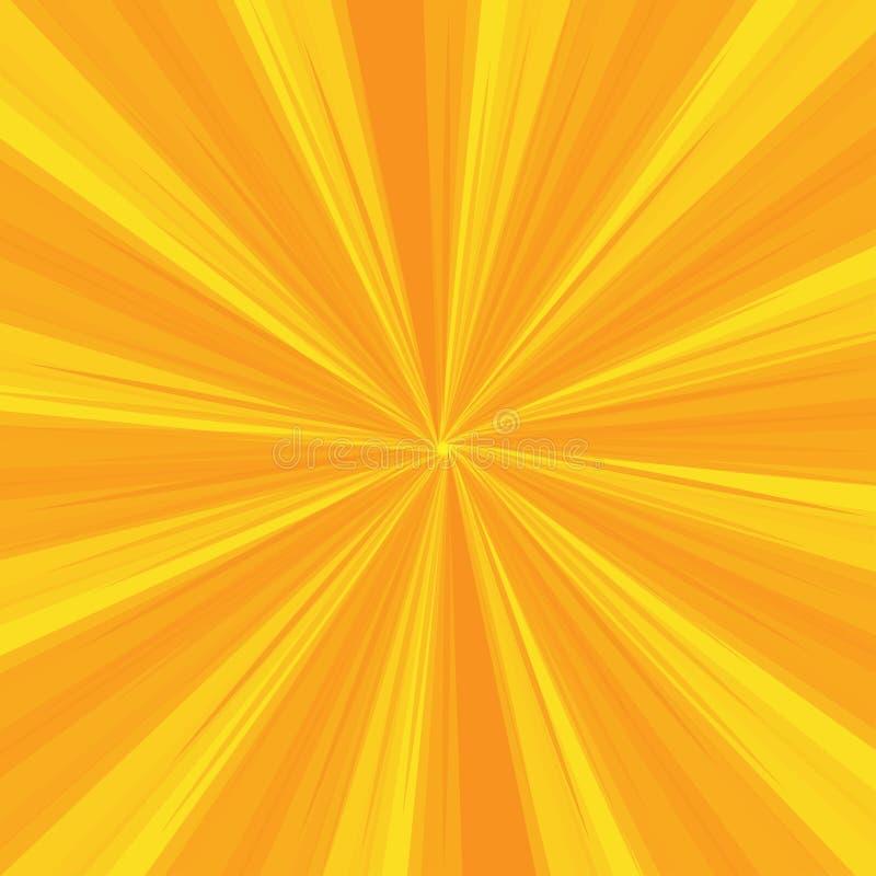 Os raios modelam com as listras da explosão da luz amarela Sun Ray Fundo abstrato do papel de parede Ilustração do vetor ilustração stock