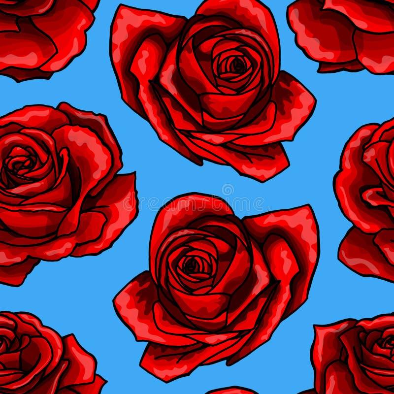 Os ramalhetes cor-de-rosa vermelhos da flor contornam o teste padr?o sem emenda dos elementos no fundo azul ilustração royalty free