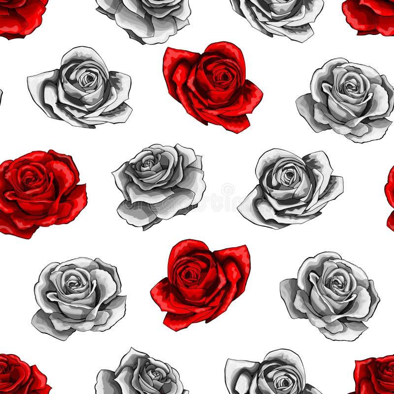 Os ramalhetes cor-de-rosa vermelhos da flor contornam o teste padr?o sem emenda dos elementos no fundo branco ilustração stock