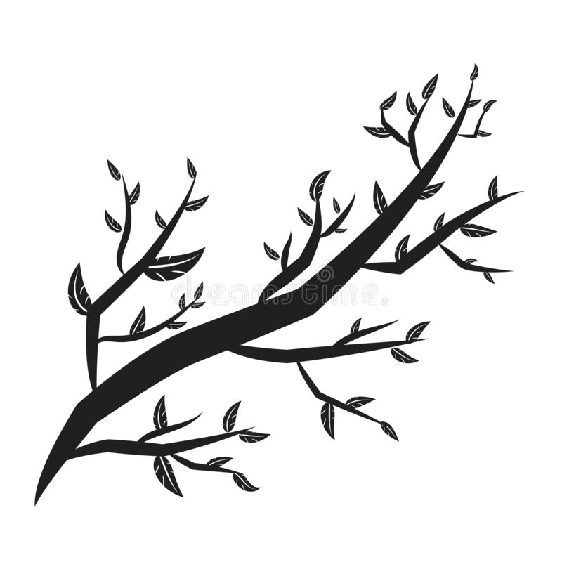 os ramos de árvore com lote das folhas mostram em silhueta isolado ilustração do vetor