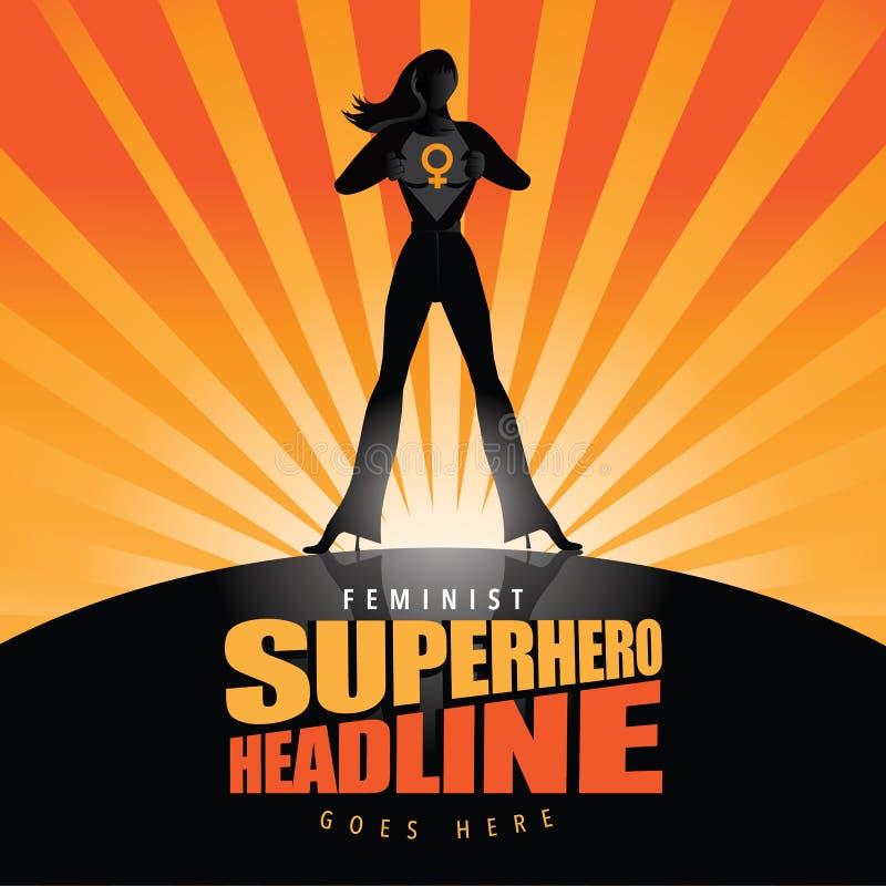 Os rasgos da mulher do super-herói abrem seu fundo da camisa ilustração do vetor