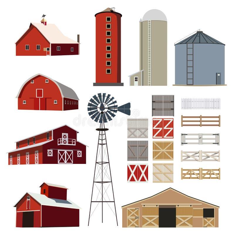 Os rebanhos animais da construção de casa da exploração agrícola vector ilustração royalty free