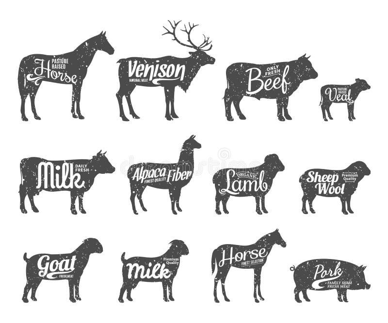 Os rebanhos animais mostram em silhueta a coleção Os rebanhos animais etiquetam moldes ilustração stock