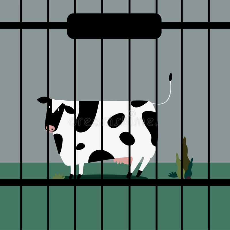 Os rebanhos animais tristes acobardam-se no captiveiro ilustração stock