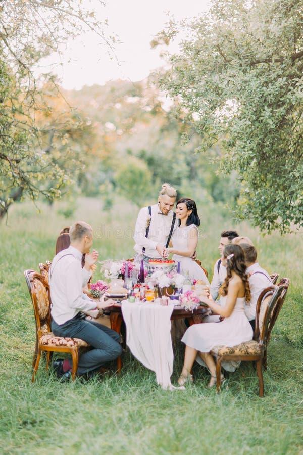 Os recém-casados bonitos estão cortando sua parte do fisrt do bolo de casamento junto na floresta que os gueats se estão sentando foto de stock royalty free