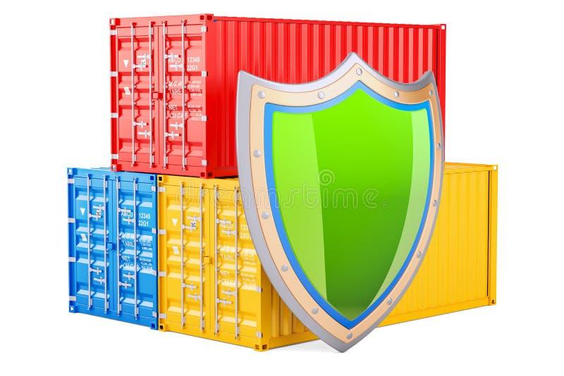 Os recipientes de carga com protetor, seguro e protegem o engodo da entrega ilustração stock
