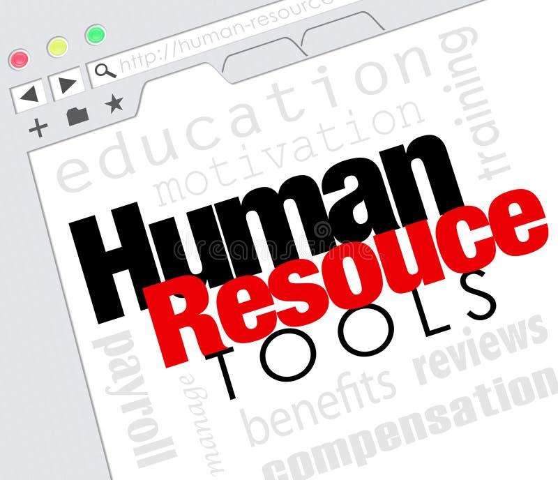 Os recursos humanos utilizam ferramentas os benefícios em linha M do treinamento do Web site do Internet ilustração royalty free