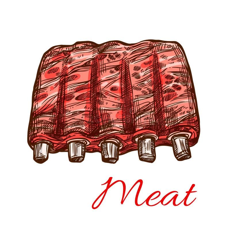 Os reforços frescos da carne de porco ou da carne de carneiro vector o ícone do esboço da carne ilustração royalty free